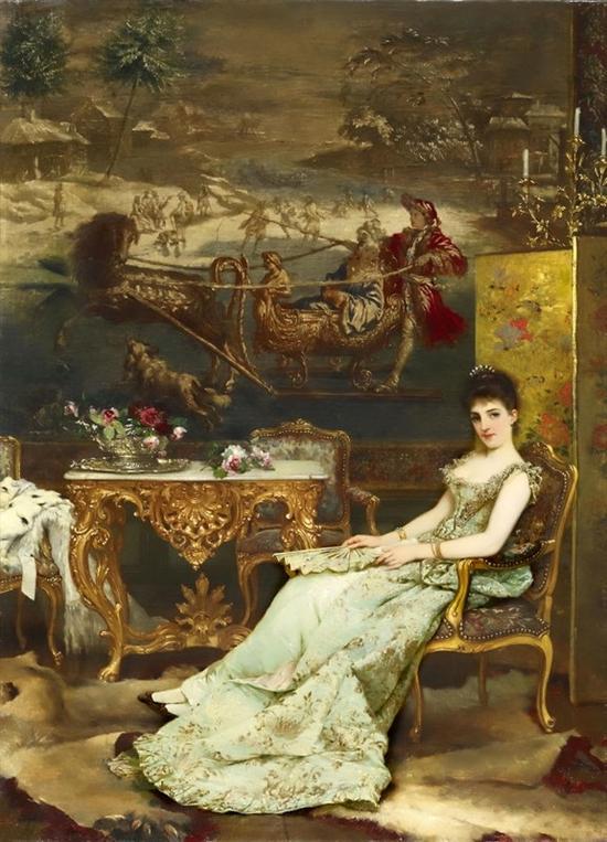 《沙龙女主人》 弗兰西斯·韦豪斯 (比利时1834-1896) 布面油画 100.5 ×73cm