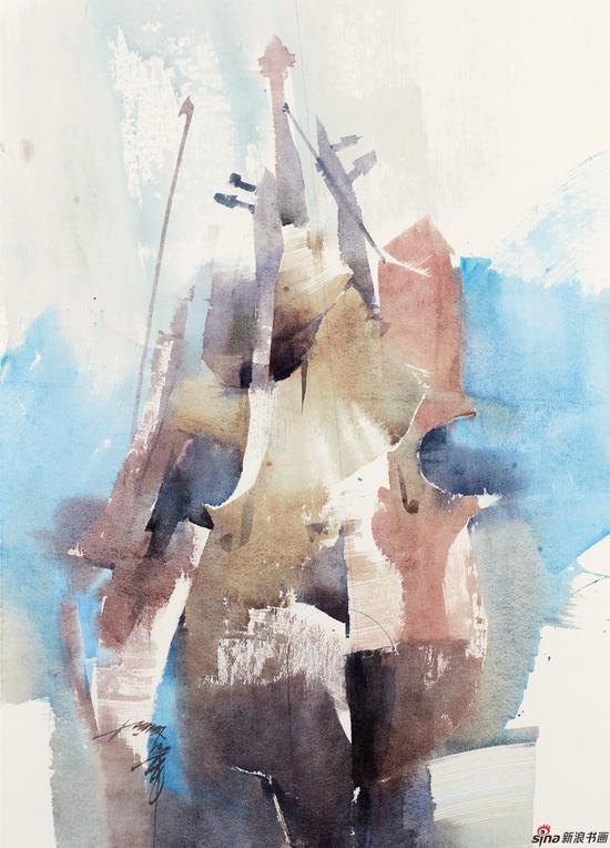 梁钢 蔚兰的启示 109×78cm 水彩画