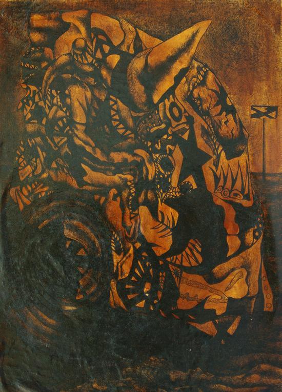 顾磊《战车》纸本 85×63cm 1993