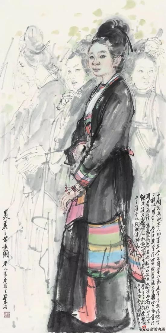 《苗女图》 138cm x 69cm   唐勇力