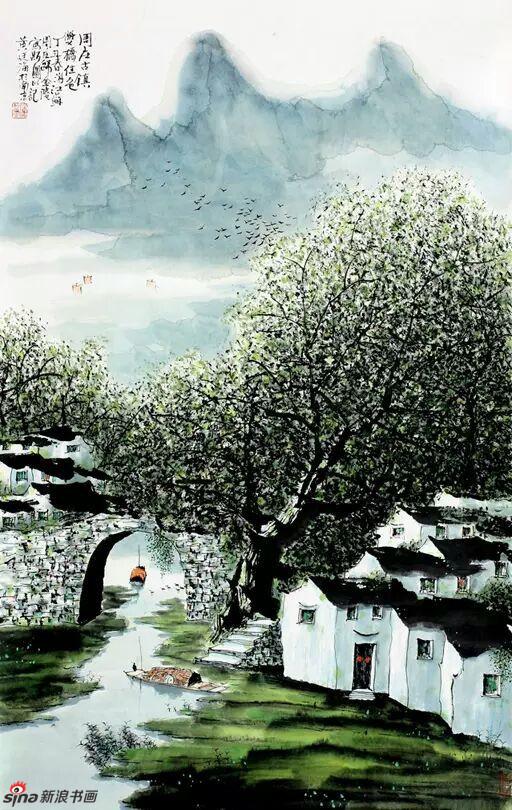 《周庄古镇》,69cmx46cm,1999年,黄廷海作