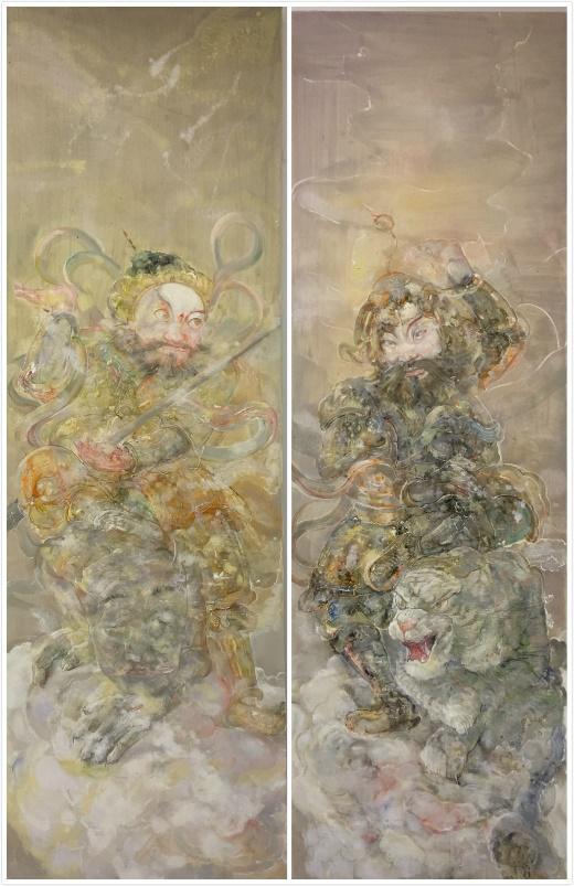 《门神-神荼、郁垒》 罗奇 油画 2019 210x68cmx2