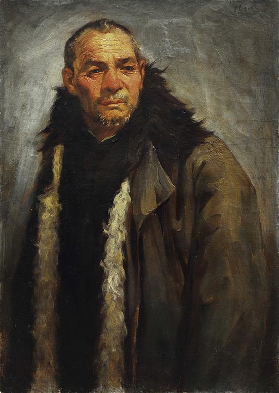 15。杨立光《穿皮大衣的老人》布面油彩 86cm×61cm 1942年