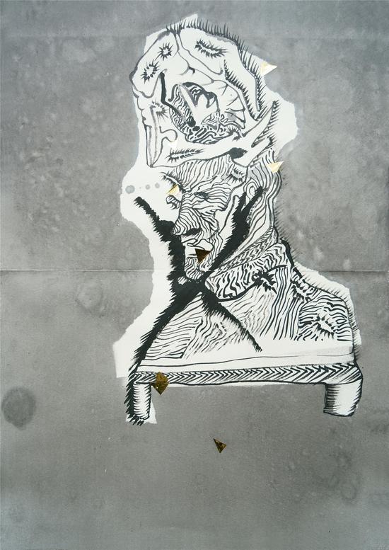 陈彧君,《仪式NO.140316》,水墨、宣纸,60×45cm,2014
