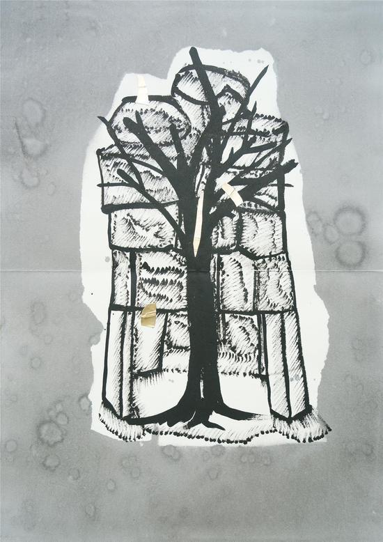 陈彧君,《仪式NO.140410》,水墨、宣纸,60×45cm,2014