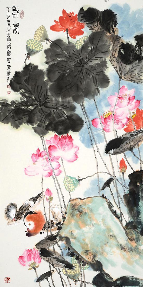 贾广健  和风138cm×69cm  设色纸本