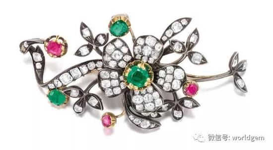 祖母绿、红宝石及钻石胸针   约19世纪