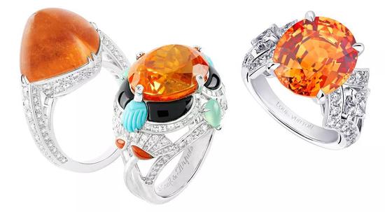 左:宝诗龙糖包山芬达石戒指;中:15.77克拉梵克雅宝芬达石戒指;右:路易威登芬达石戒指。