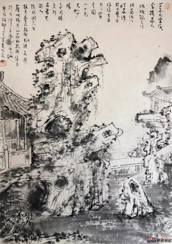 顾村言《扬州小盘谷写生》 45×65cm
