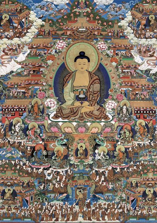阿弥陀佛极乐世界 彩唐 102×144cm创作年代:2008