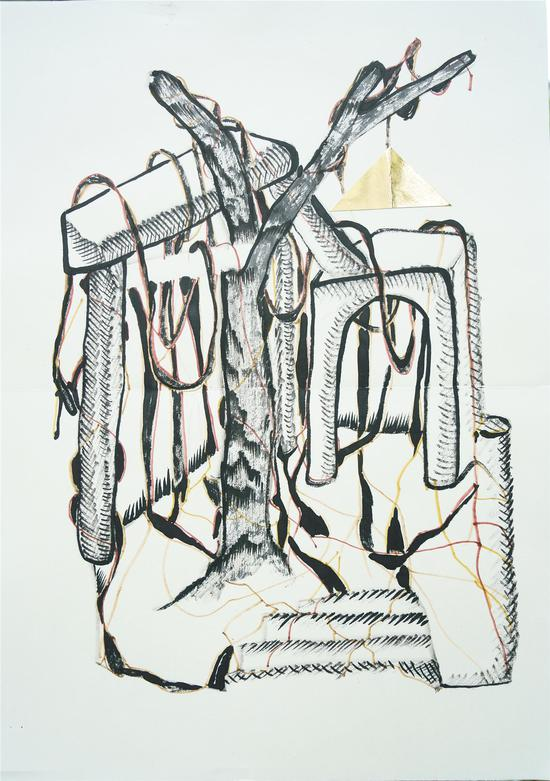 陈彧君,《仪式NO.140906》,水墨、宣纸,60×45cm,2014