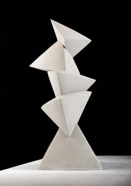 27。刘政德、李正文《大江截流》不锈钢 53cm×47cm×104cm 1982年 湖北美术馆藏
