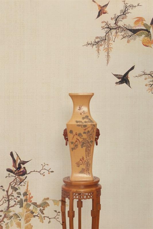 艺术家毛国强作品 花鸟瓶