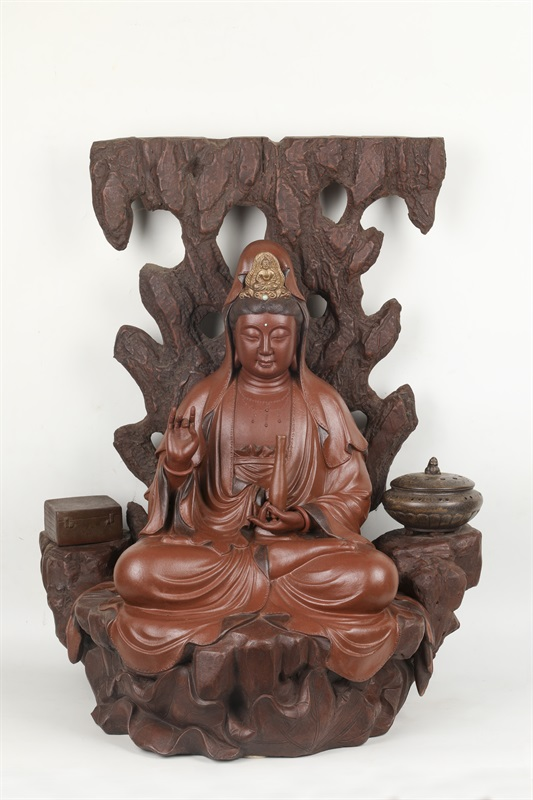 艺术家万陶作品石岩观音壶 泥料:清水泥 尺寸:70 CM