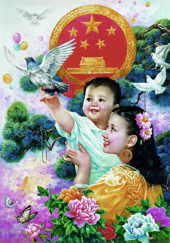 刘熹奇作品《祖国万岁》70cmx50cm 1988年