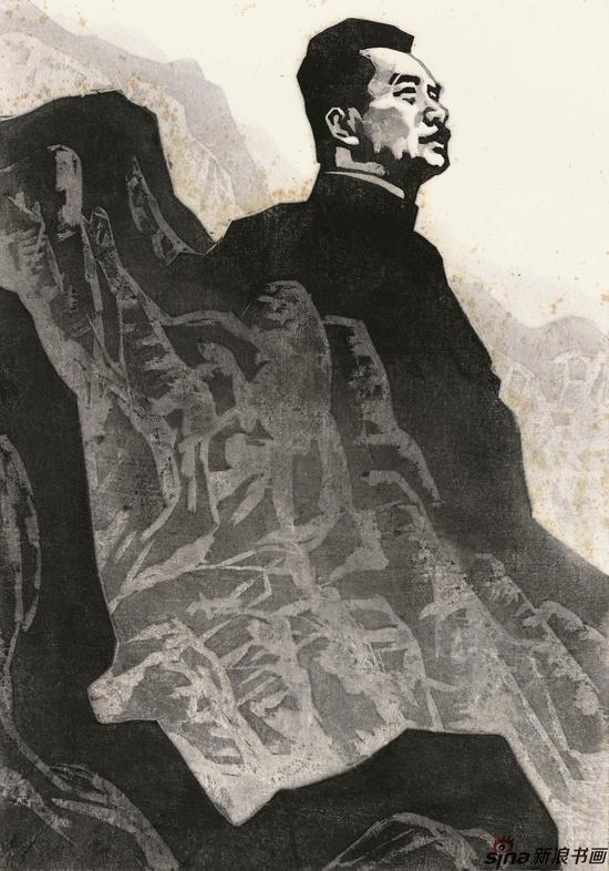 吴俊发 《鲁迅先生》81cmx54cm 水印木刻 1986年