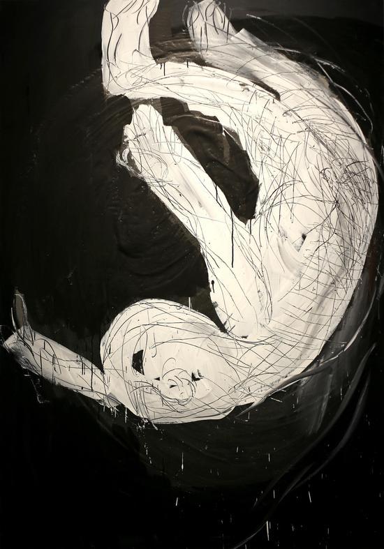 《人物系列No.26》 综合材料 亚麻布、丙烯 200×140 cm 2018