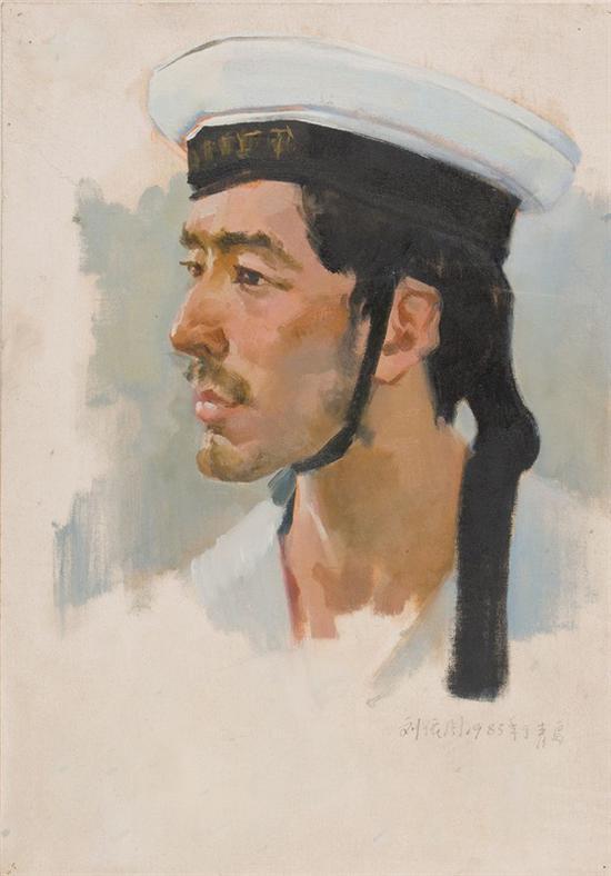 18。刘依闻《海军像》布面油画57cm×43cm 1983年 湖北美术馆藏