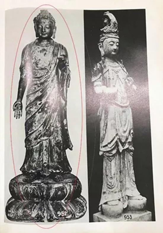 参阅:山中商会藏明早期木雕金漆站姿佛陀。