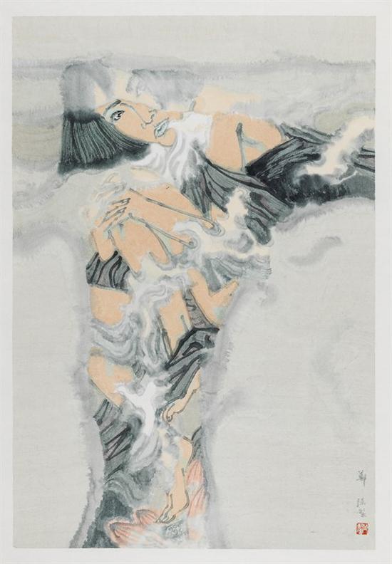 郑强 《天空下——遮蔽》 纸本设色 115×78cm 2016