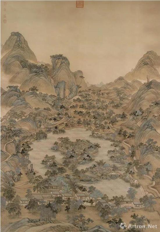(清)冷枚 避暑山庄图 绢本设色   纵254.8厘米 横172.5厘米 北京故宫博物院藏