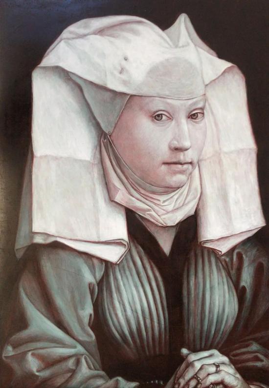 临摹韦登作品《戴头巾的女子肖像》
