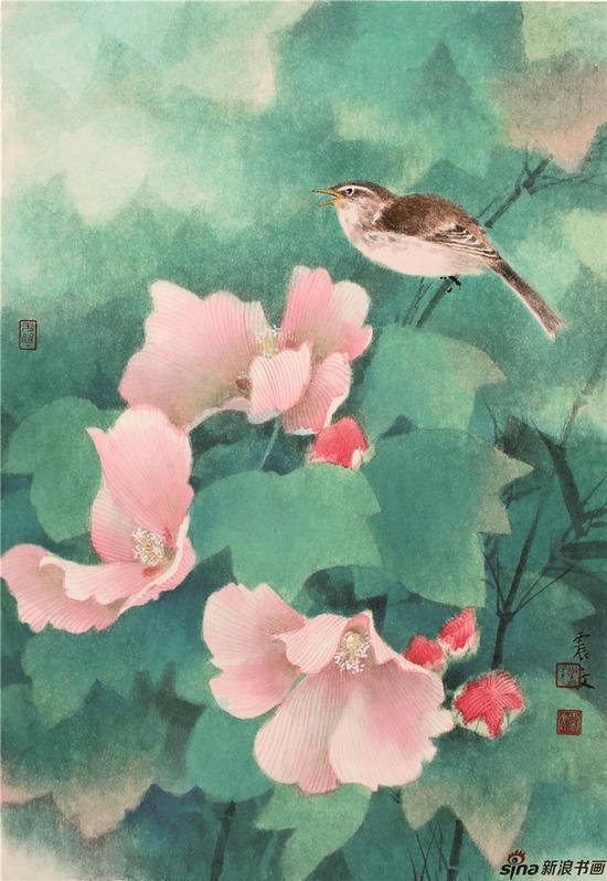 小鸟芙蓉 48×32cm 纸本设色 2016 )