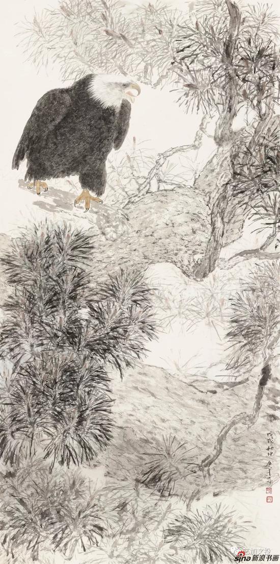 曾春平《肥鹰也能掠九天》138cm×70cm 2018年