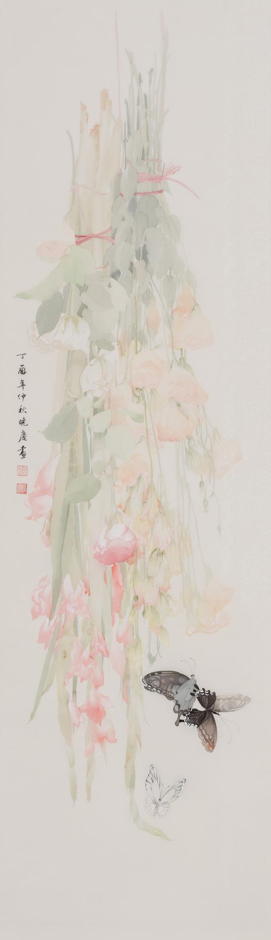 余晓庆,花事阑珊之一,绢本设色,118x36cm,2017