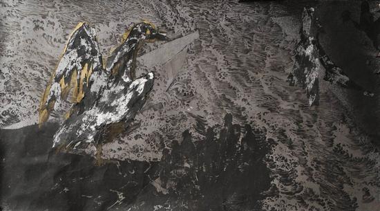 陈彧君,《木兰溪NO.180422》,手工纸、水墨、丙烯,110×200cm,2018
