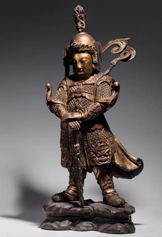 明 木雕漆金韦陀立像   H:120cm
