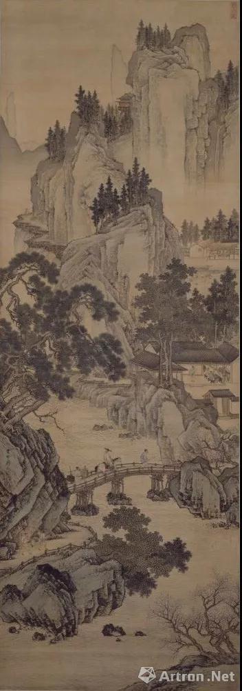 《春山游骑图》轴 明 周臣绘 绢本 设色