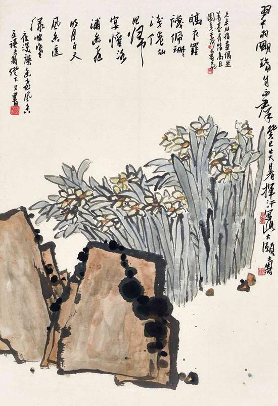 潘天寿 翠羽明珰自不群 立轴 设色纸本 91x62.5cm。 约5.1平尺 1953年作