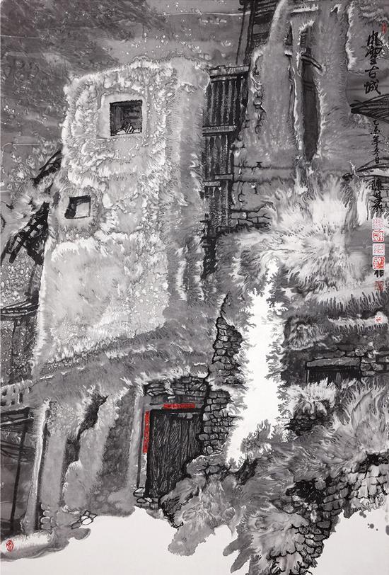 风雪古城 纸本水墨 200X120 2015年