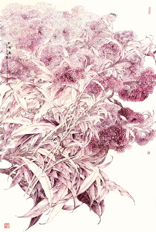 李采姣,红耀东方,纸本没骨,200x132cm,2018年,入选浙江省第七届青年美展