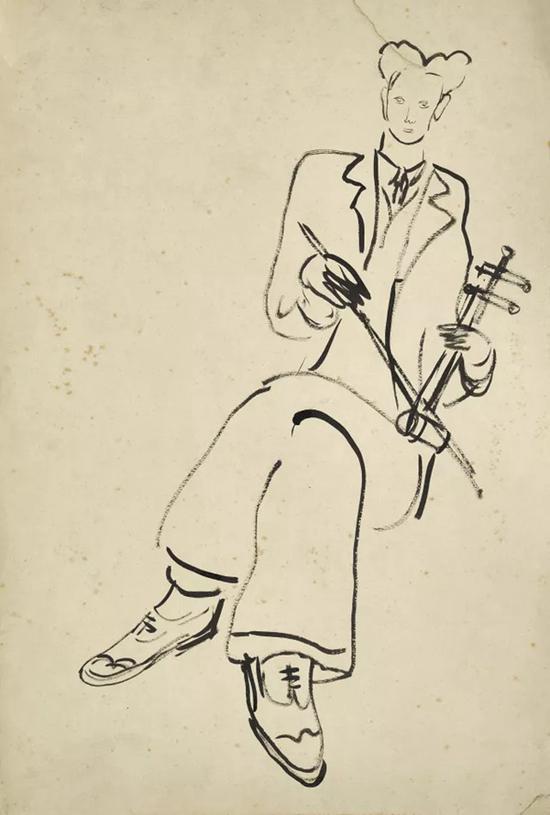 Lot。 618 常玉《拉胡琴的男子》纸本水墨   43×28.8 cm。