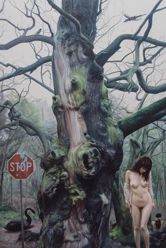 王念东《希尔维亚的森林》180x120cm,布面油画,2017年