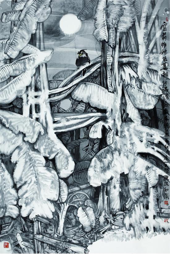 窗前种芭蕉树月满清庭鸟未眠 纸本水墨 200X120 2017年