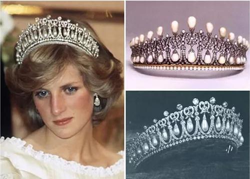 """戴妃(左图)最爱的""""珍珠泪王冠"""",原来有2个版本。右上为原来的""""珍珠泪"""";右下是新版本。"""