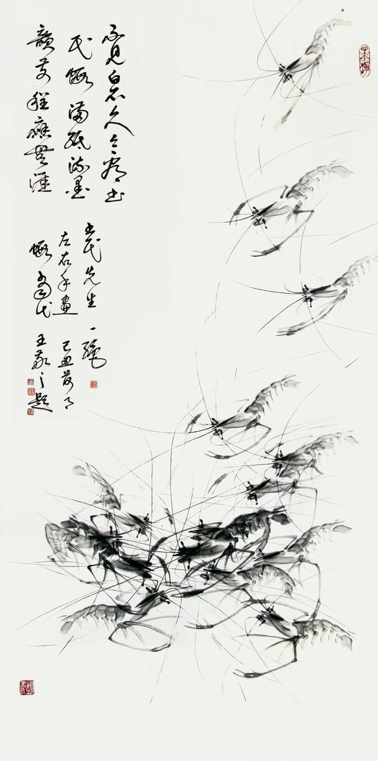 双手画《群虾图》 136×68cm
