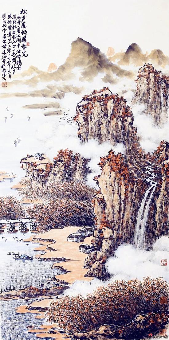 秋芦万顷胜春光(136×69厘米,2017年)