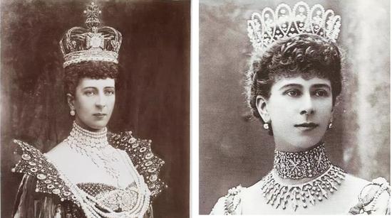 图左为亚历山德拉皇后,图右为玛丽皇后