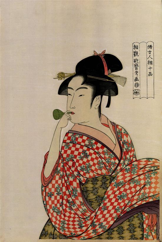 """喜多川歌麿 妇女人相十品 吹""""噗乒""""的少女1792-1793年"""