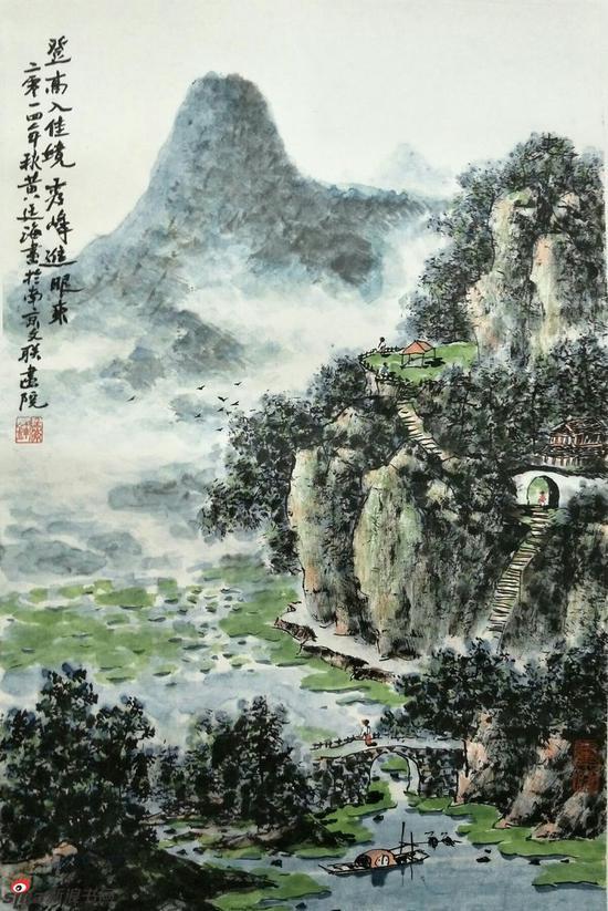 《登高入佳境》,69cmX46cm,2014年,黄廷海作