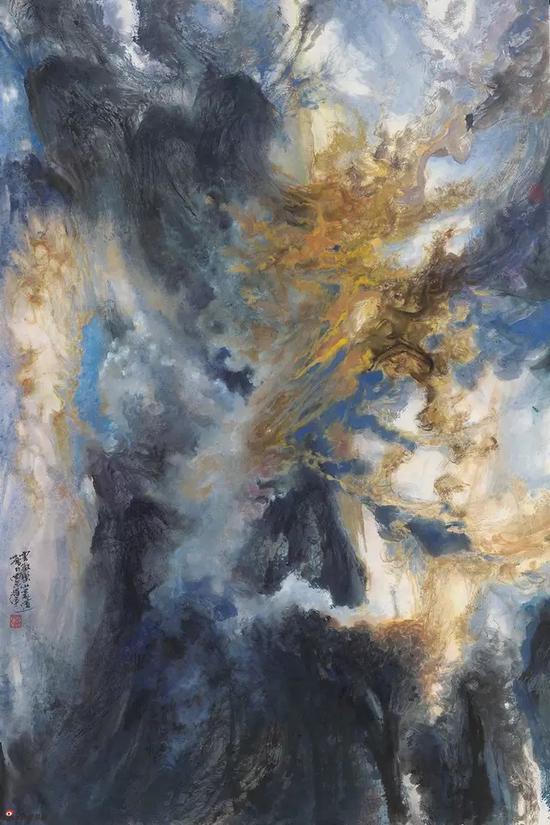 云欢乐山豪迈,143.5x96cm,纸本