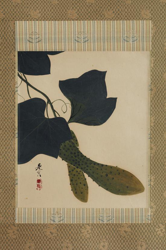 江户或明治时代漆绘胡瓜图立轴款 是真