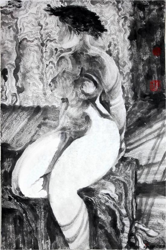 慵懒系列十九,尺寸:68x45cm,创作年代2014