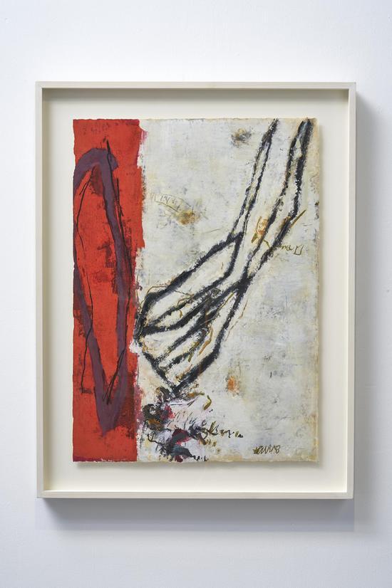 黄渊青 HUANG Yuanqing,《无题Untitled》, 1998-2020年, 宣纸综合材料 Mixed media on rice paper, 77 x 55 cm 艺术家和阿拉里奥画廊 Artist and ARARIO GALLERY