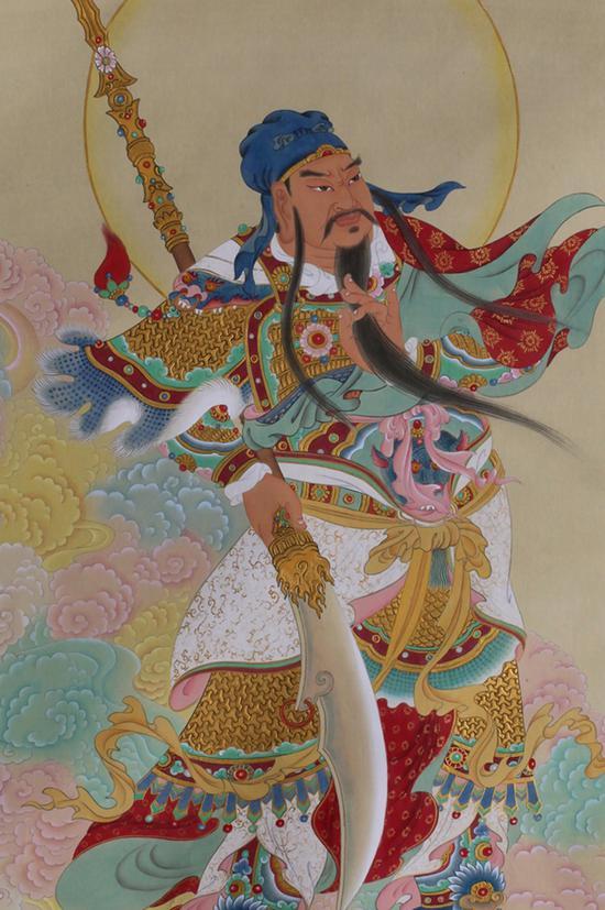 姜雪雁 伽蓝观音(局部) 绢本设色 2005