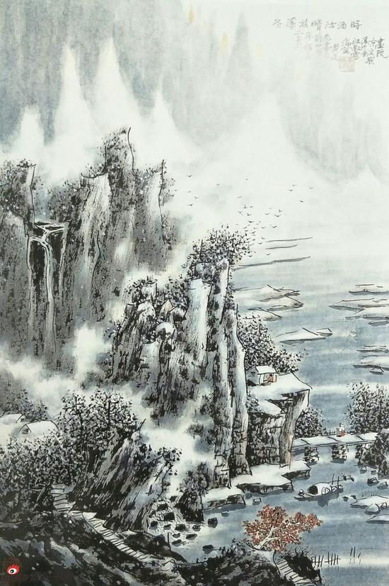 《冬溪放睛沽酒时》,69cmx46cm,2010年,黄廷海作